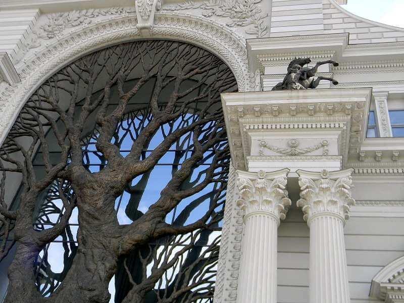 дерево по центру