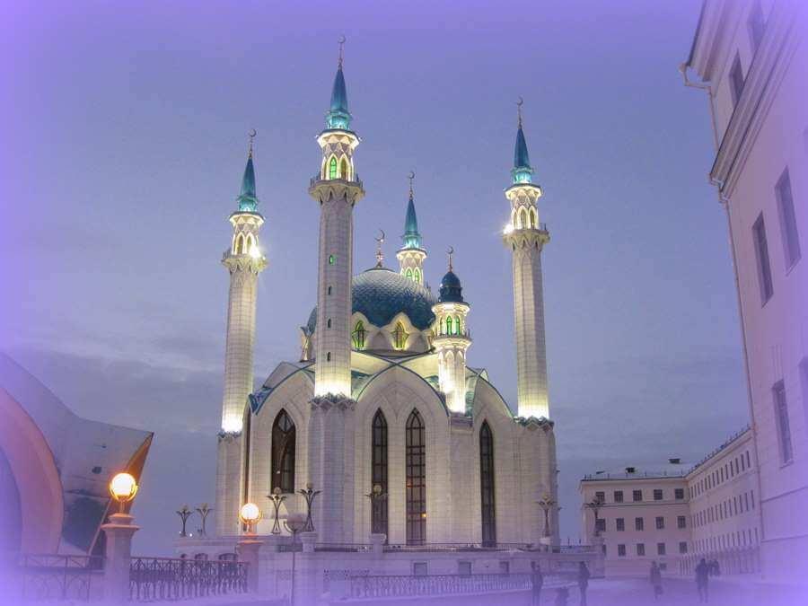 мечеть зимой в сумерки
